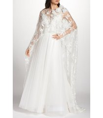 women's tadashi shoji floral embroidered cape, size small/medium - ivory