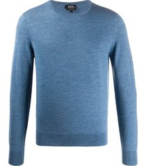 a.p.c. long sleeve sweater - blue