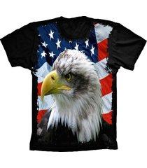 camiseta baby look lu geek flag usa eagle preto - preto - feminino - dafiti