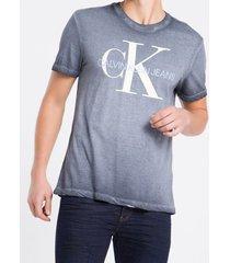camiseta masculina básica degradê azul marinho calvin klein jeans - pp