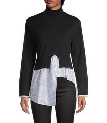 avantlook women's striped splicing turtleneck sweater - black - size s