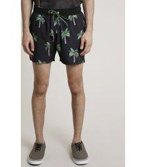 short masculino estampado de coqueiros com bolsos preto