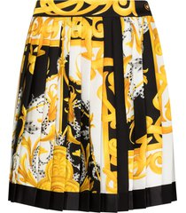 versace baroque-print skater skirt - multicolour