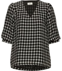 evita top blouses short-sleeved svart modström