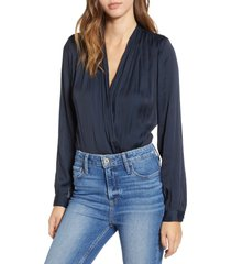 women's paige sevilla surplice bodysuit, size x-small - blue