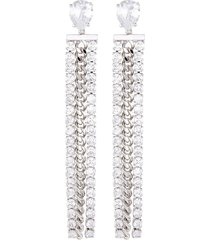 cubic zirconia chain drop earrings
