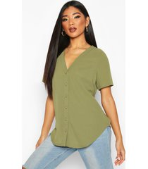 short sleeve button through blouse, khaki