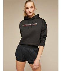 tommy hilfiger women's stretch fleece cropped hoodie black - l