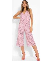 bloemenpatroon culotte jumpsuit met v-hals, pink