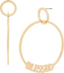 bcbgeneration blessed gypsy hoop gold-tone metal earrings