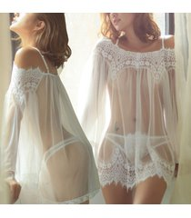 sexy girl underwear babydoll lingerie dress sleepwear lace bra string set white