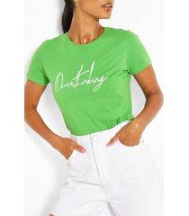 overthinking slogan t-shirt, green
