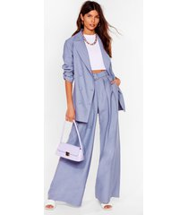 womens business as usual wide-leg belted pants - denim-blue