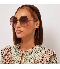 chloé women's irene oversized round sunglasses - brown