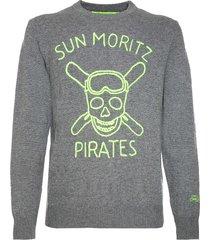 mc2 saint barth man grey sweater sun moritz pirates fluo embroidery