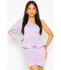 one shoulder puff sleeve peplum mini dress, lilac