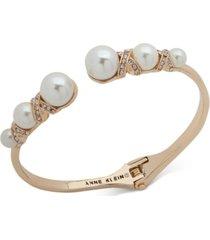 anne klein gold-tone imitation pearl bangle bracelet