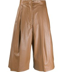 nude high-waisted faux-leather shorts - brown