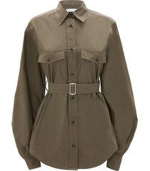 jw anderson belted puff-sleeve shirt - green