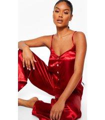 premium pyjama set met steentjes en knopen, red