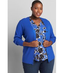 lane bryant women's ribbed button-front cardigan 10/12 dazzling blue