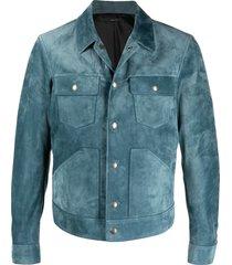 tom ford suede western jacket - blue