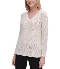 blouse v-neck crochete knit top