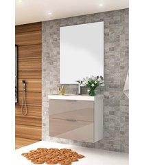 conjunto para banheiro pietra branco/gianduia brilho bosi - branco - dafiti