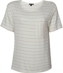 blusa dudalina manga curta decote careca listrada feminina (off white listrado, gg)