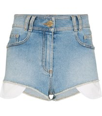 balmain high waist logo-embroidered mini shorts - 6fc bleu