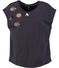 only donkerblauwe sweat polyester top