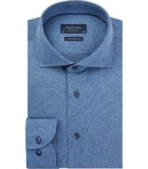 profuomo originale heren overhemd jersey cutaway slim fit blauw