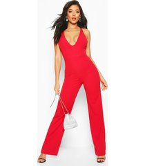 double strap detail wide leg jumpsuit, red