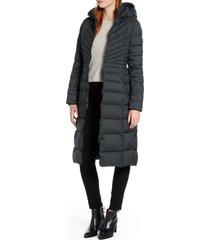 women's bernardo hooded long quilted coat, size x-small - green