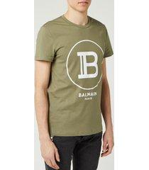 balmain men's large coin flock t-shirt - khaki - l