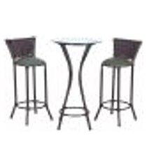 conjunto bistrô mesa alta e 2 banquetas moscou pedra ferro a30 para cozinha edicula bar varanda