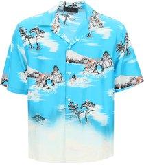 amiri aloha shirt in printed silk