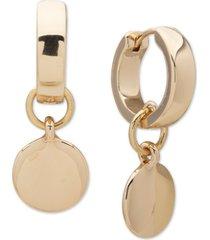 dkny gold-tone disc charm hoop earrings