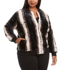 belldini plus size faux fur zip-up bomber jacket