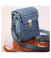 leather-accented crocheted shoulder bag, 'costa del sol' (mexico)