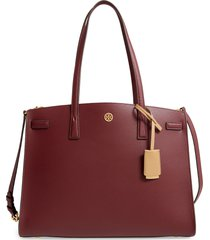tory burch walker leather satchel - burgundy