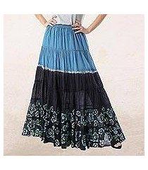 batik cotton skirt, 'boho batik in teal' (thailand)