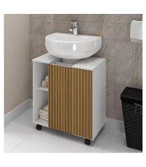 gabinete para banheiro pequin móveis bechara 1 porta 6 nichos branco e ripado