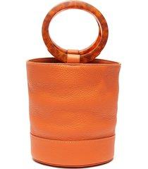 'bonsai 20' acetate ring handle leather bucket bag