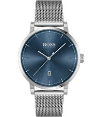 boss men's confidence stainless steel mesh bracelet watch 42mm