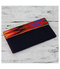 embroidered rayon wallet, 'tribal connection in blue' (india)