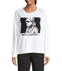 karl lagerfeld paris women's flocked graphic sweatshirt - soft white - size s