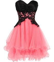 blevla sweetheart tulle short prom dress cocktail party homecoming gown coral...