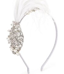 tutu du monde feather detail crystal headband - silver