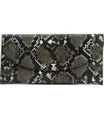 jade snakeskin clutch wallet - black